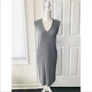 J Crew Factory Grey Sleeveless Ribbed Midi Dress S